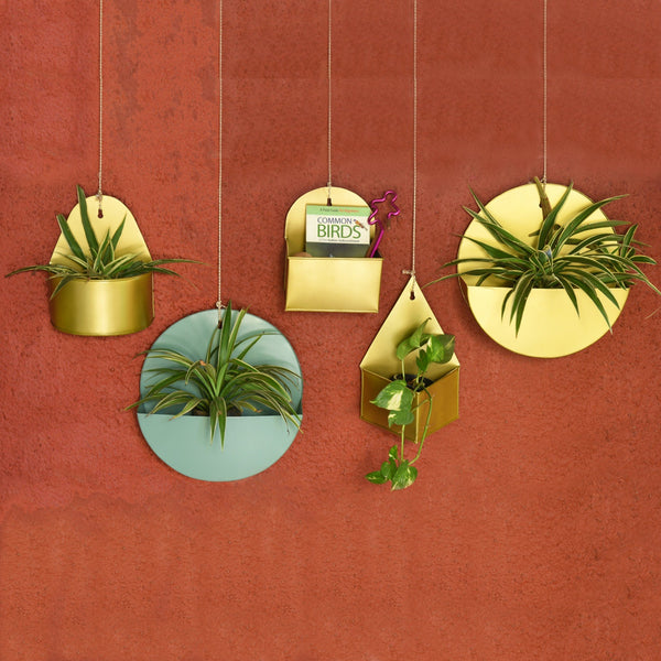 1 BHK Interiors Curved Hanging Metal Mounted Wall Planter / Letter Box in Matte Gold Finish