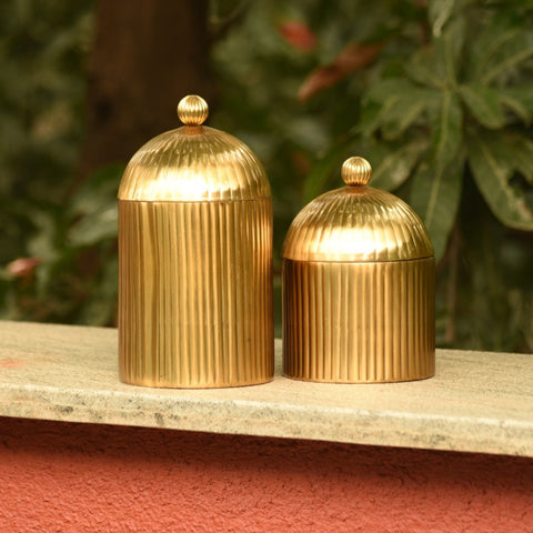 1 BHK Interiors Decorative Ribbed Metal Jar with Dome Lid in Antique Gold Finish - 2 sizes