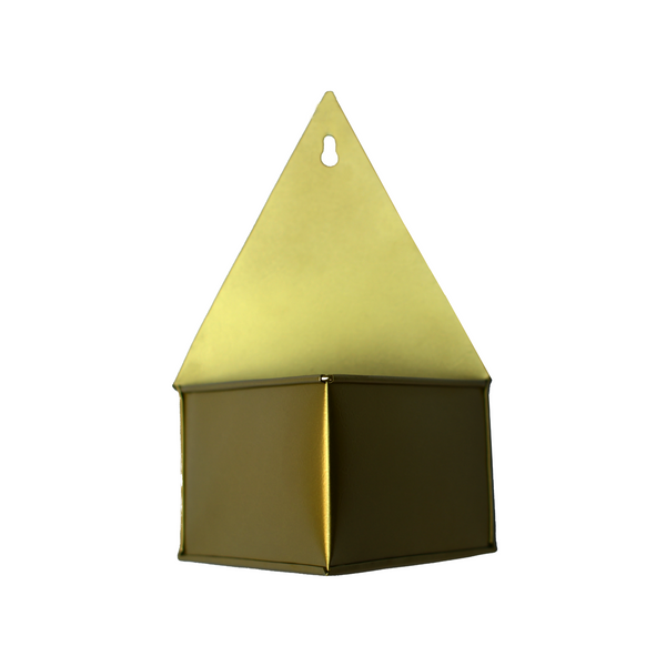 1 BHK Interiors Diamond Hanging Metal Mounted Wall Planter / Letter Box in Matte Gold Finish