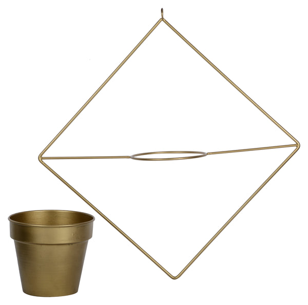 1 BHK Interiors Diamond Shaped Metal Hanging Planter in Gold Finish