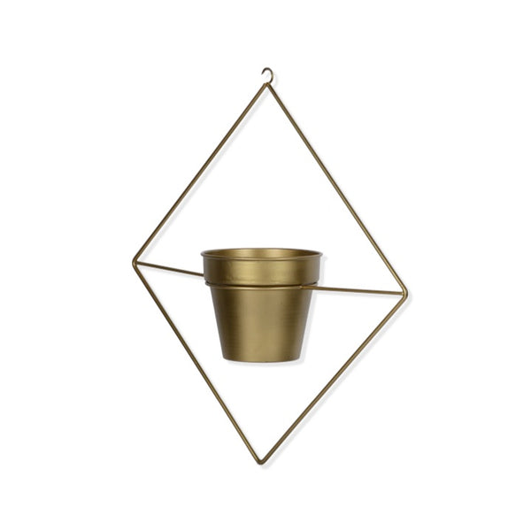 1 BHK Interiors Diamond Shaped Metal Hanging Planter in Gold Finish hook