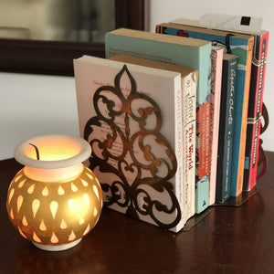 "1 BHK Interiors ""Got to Glow"" Handcrafted Marble and Antique Gold Lota Lamp (Small) 0"