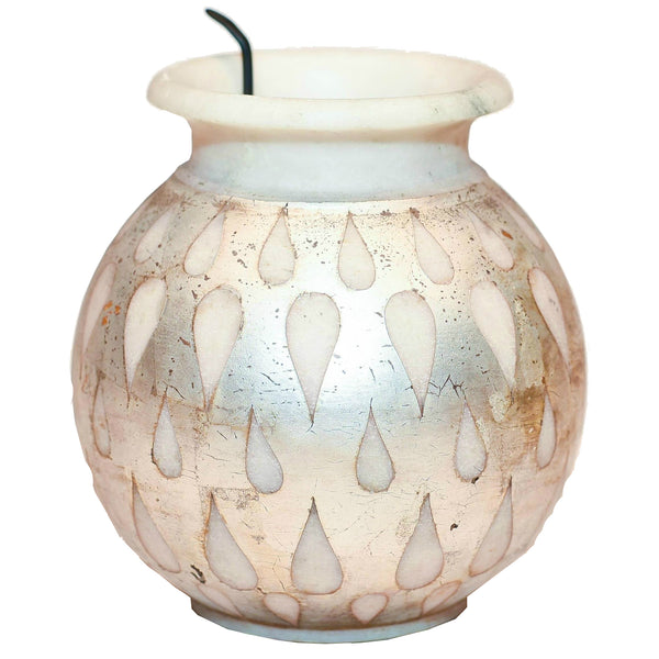 "1 BHK Interiors ""Got to Glow"" Handcrafted Marble and Antique Silver Lota Lamp (Large).jpg"