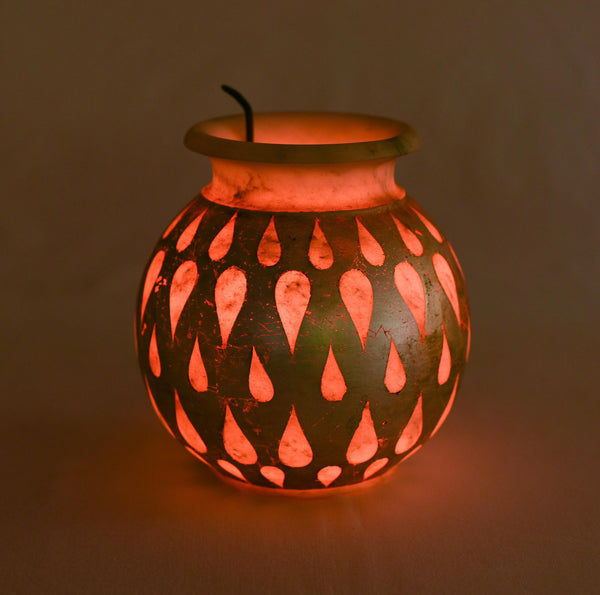 """Got to Glow"" Handcrafted Marble and Antique Silver Lota Lamp (Large) 1 BHK Interiors"