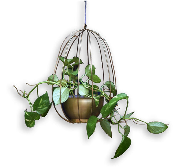 "1 BHK Interiors ""Watermelon"" Metal Candle Holder / Hanging Planter in Gold Finish (Optional Matching Bowl)"