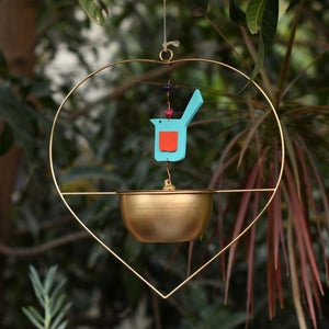 """Heart"" Metal Hanging Planter / Bird Feeder in Gold Finish 1 BHK Interiors"