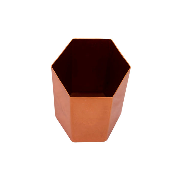 Hexagonal Metal Pen Stand / Vase / Spoon Holder in 3 Molten Metallics - Gold, Rose Gold or Silver 1 BHK Interiors