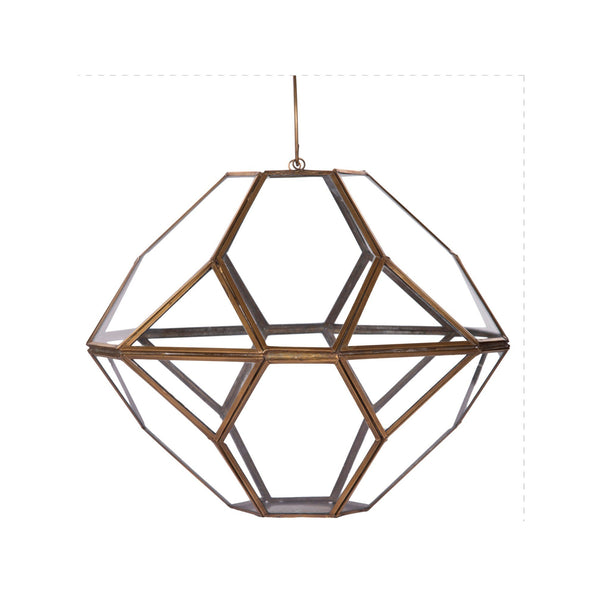 1 BHK Interiors Large Metal & Glass Hanging Terrarium Style Candle Holder in Gold Finish 1