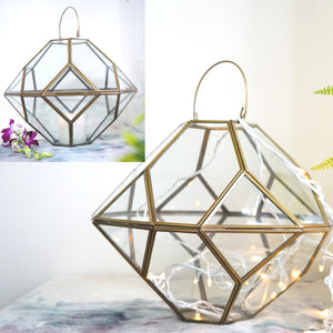 Large Metal & Glass Hanging Terrarium Style Candle Holder in Gold Finish 1 BHK Interiors