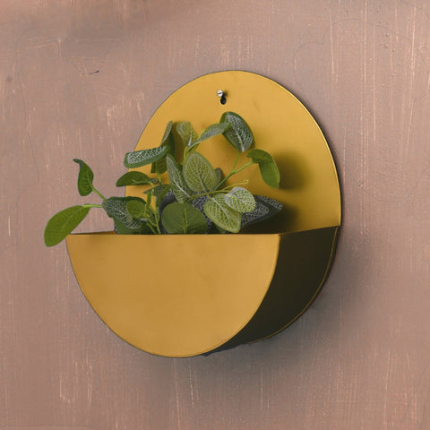 """Lunar"" Hanging Metal Mounted Wall Planter / Letter Box in Matte Gold 1 BHK Interiors"