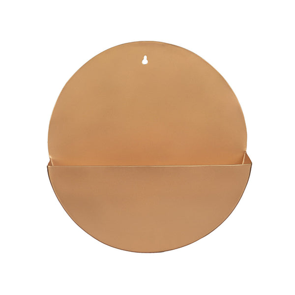 "1 BHK Interiors ""Lunar"" Hanging Metal Mounted Wall Planter / Letter Box in Rose Gold 1"