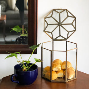 1 BHK Interiors Metal & Glass Octagonal Decorative Box in Gold - Large