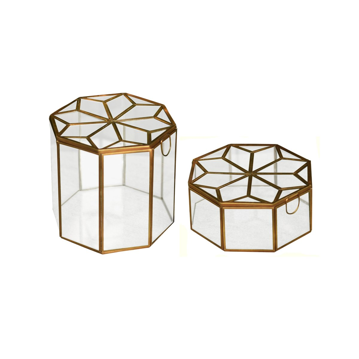 1 BHK Interiors Metal & Glass Octagonal Jewellery Boxes in Gold - Large & Medium