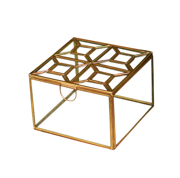 1 BHK Interiors Metal & Glass Square Decorative Box in Gold