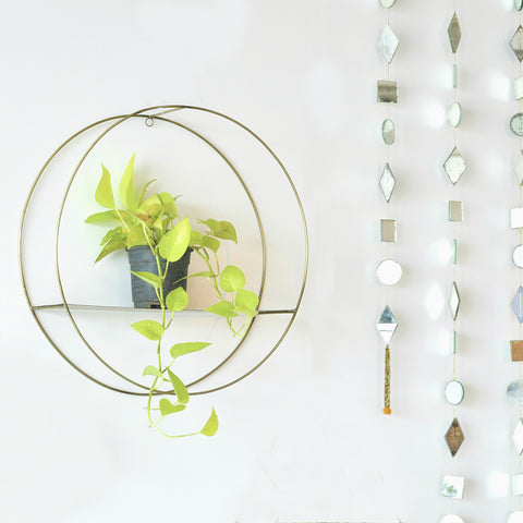 1 BHK Interiors Metal Hanging Circle/Round Shelf in Gold Finish