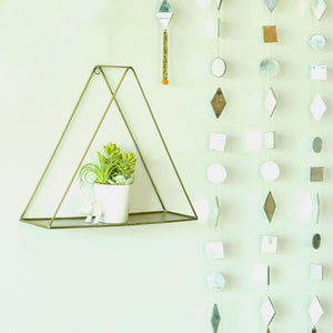 Metal Hanging Triangle Shelf in Gold Finish 1 BHK Interiors