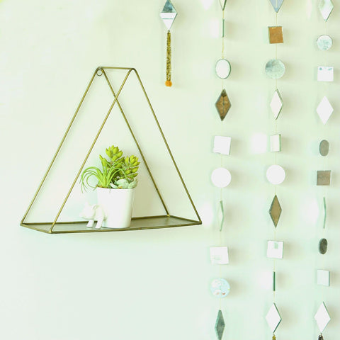 1 BHK Interiors Metal Hanging Triangle Shelf in Gold Finish