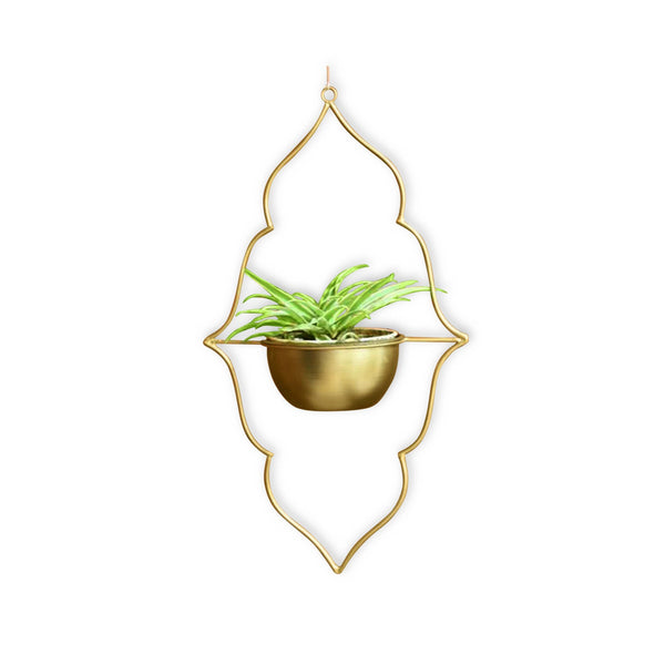 1 BHK Interiors Moroccan Hanging Metal Planter in Gold Finish