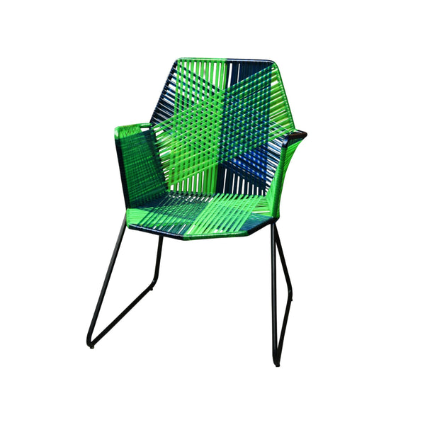 Psychedelic Metal & Plastic Cane Outdoor Garden Chair in Blue & Green 1 BHK Interiors