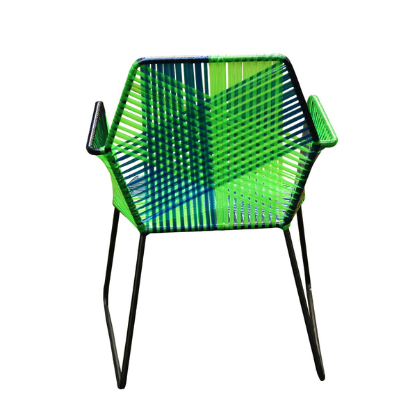 1 BHK Interiors Psychedelic Metal & Plastic Cane Outdoor Garden Chair in Blue & Green