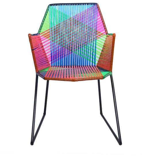 1 BHK Interiors Psychedelic Multicoloured Metal & Plastic Cane Outdoor Garden Chair in Black Frame