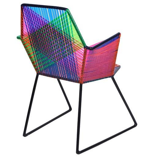 Psychedelic Multicoloured Metal & Plastic Cane Outdoor Garden Chair in Black Frame 1 BHK Interiors