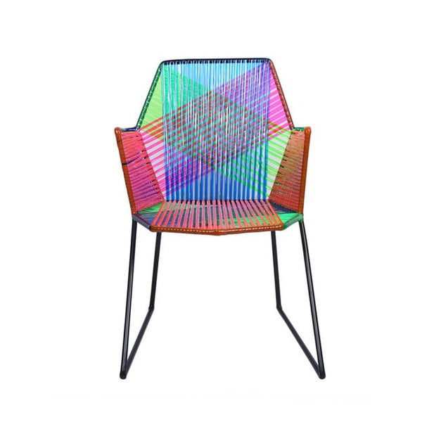 Psychedelic Multicoloured Metal & Plastic Cane Outdoor Garden Chair in Black Frame