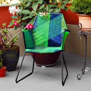 1 BHK Interiors Psychedelic Metal & Plastic Cane Outdoor Garden Chair in Various Colour Combos