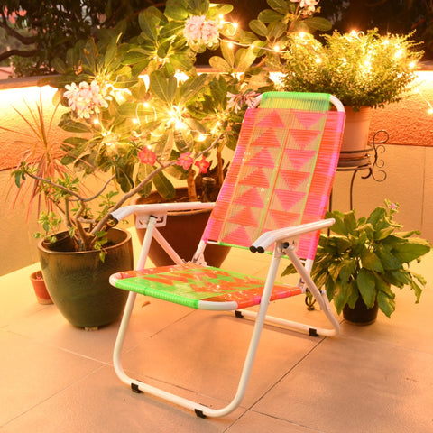 Psychedelic Metal & Plastic Cane Reclining Foldable Garden Chair 1 BHK Interiors