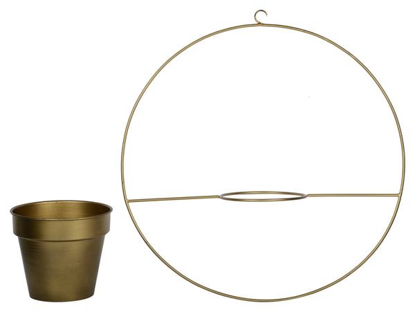 1 BHK Interiors Round Metal Hanging Planter in Gold Finish (Large) hook