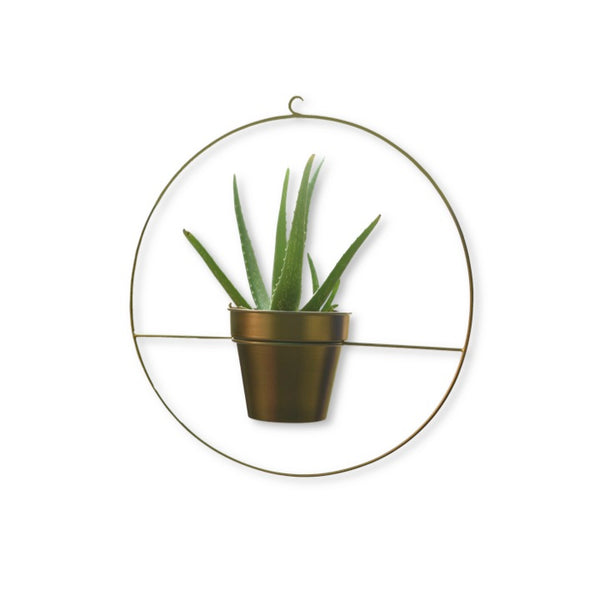 1 BHK Interiors Round Metal Hanging Planter in Gold Finish (Large) hook 1