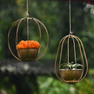 "1 BHK Interiors ""Set of 2 - ""Watermelon"" & ""Pumpkin"" Metal Candle Holders / Hanging Planters in Gold Finish (Optional Matching Bowls)"
