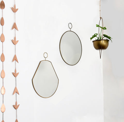 1 BHK Interiors Set of 2 Slim Brass Loop Wall Mirrors - Round & Pear 2