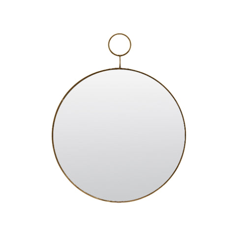 Slim Brass Loop Round Wall Mirror