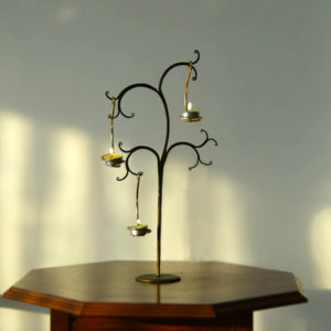 1 BHK Interiors TreaLight Antique Look Metal Black & Gold Tealight Holder