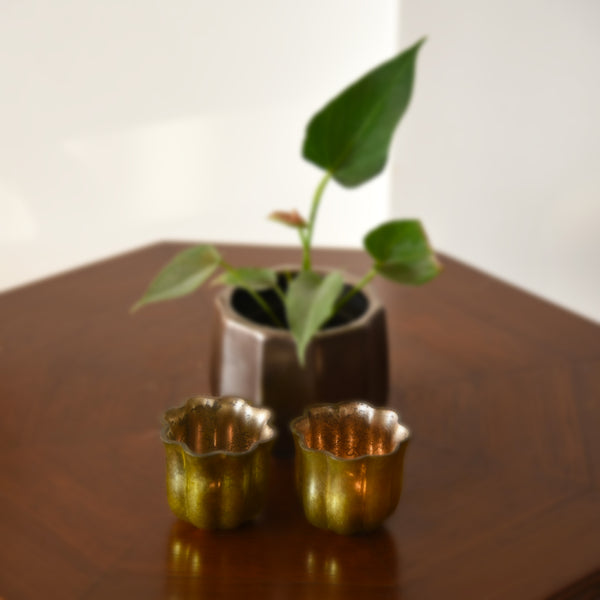 """Tulip"" Antique Look Metallic Glass Glowing Votive Tea Light Candle Holder Diya in Gold Finish 1 BHK Interiors"