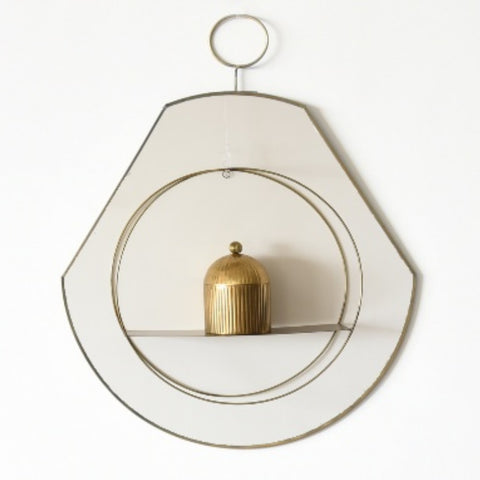 Slim Pear Shaped Brass Loop Wall Mirror