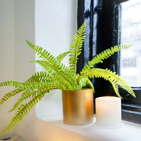 Cylindrical Pot / Planter in Bright Matte Gold 1 BHK Interiors