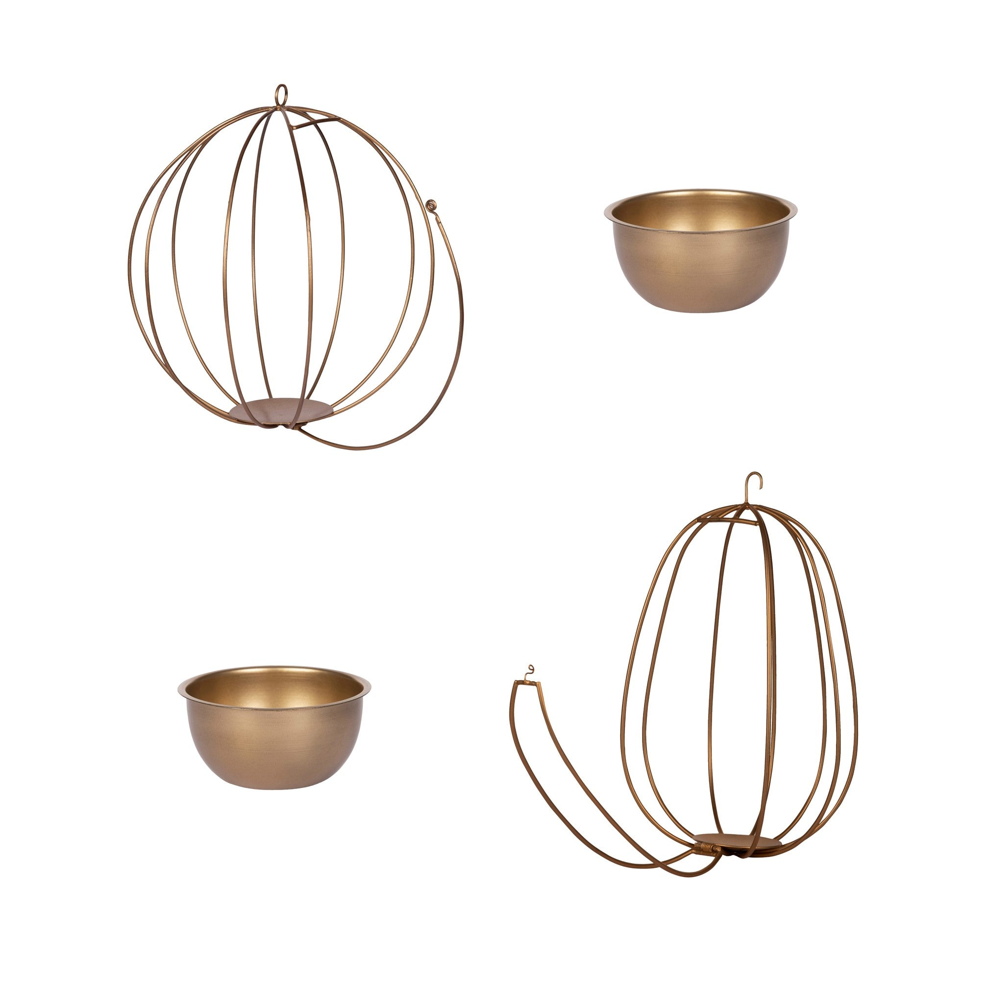 "Set of 2 - ""Watermelon"" & ""Pumpkin"" Metal Candle Holders / Hanging Planters in Gold Finish (Optional Matching Bowls)"