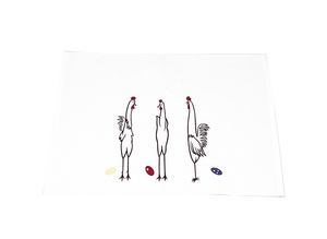 3 Rooster Line Drawing Cotton Place Mats Set of 4 - White 1 BHK Interiors