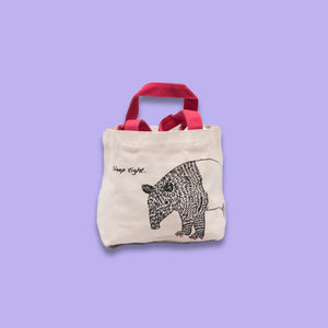 Unisex Canvas Tote Bag in Off-White with Pink Handle