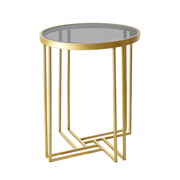 Art Deco Coffee Table in Metal with Black Glass Top
