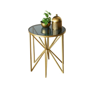 """Asterix"" Deco Coffee Table in Metal with Black Glass Top 1 BHK Interiors"