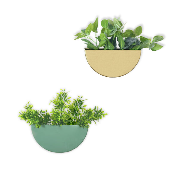 Crescent Metal Mounted Wall Planters 1 BHK Interiors