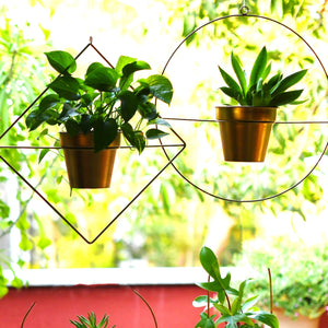 Set of 2 Metal Hanging Planters in Gold Finish - Choose Combo 1 BHK Interiors