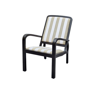 Plantation Arm Chair - Teak with Striped Upholstery Arm Chair