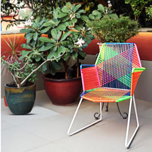 Psychedelic Multicoloured Metal & Plastic Cane Outdoor Garden Chair in White Frame 1 BHK Interiors