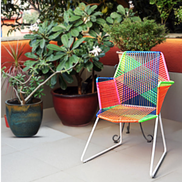 Psychedelic Multicoloured Metal & Plastic Cane Outdoor Garden Chair in White Frame