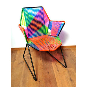 Psychedelic Metal & Plastic Cane Outdoor Garden Chair in Various Colour Combos 1 BHK Interiors