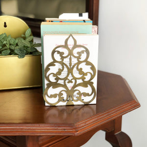 Sandook Ornate Tree Metal Book Ends - Candle Holder in Antique Gold Finish